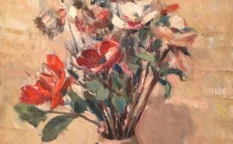 Fiori regalati di Gigi Busato. Pittura olio su tela, fiori in un vaso. Collezione di famiglia.