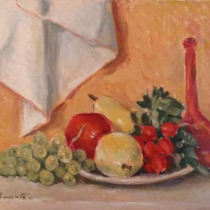 Natura morta di Gigi Busato. Pittura olio su tela, frutta in un piatto. Collezione di famgilia.